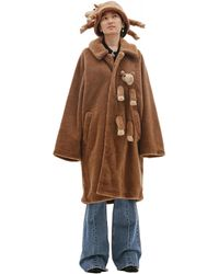 Doublet Camel Wool Coat With Sewn-on Toy - Natural