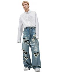 Balenciaga Wide Jeans With All-over Rips - Blue