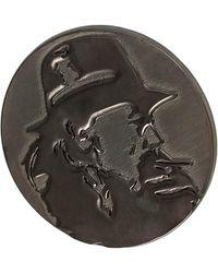 Yohji Yamamoto Круглый Значок С Профилем - Серый