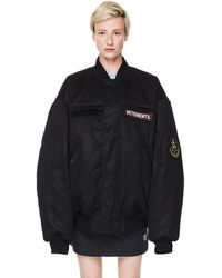 Vetements Black Logo Bomber Cotton Jacket