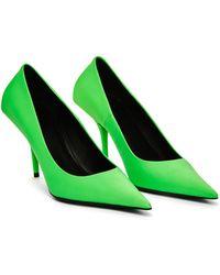 Balenciaga Кожаные Зеленые Туфли Square Knife - Зеленый