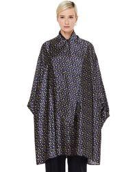 Balenciaga Шелковое Платье С Принтами - Синий