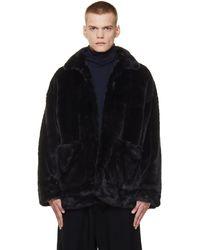 Doublet Black Faux Fur Coat