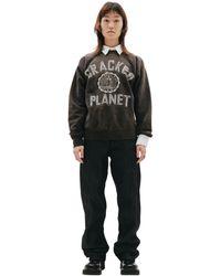 Saint Michael Cracked Planet Printed Sweatshirt - Brown