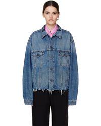 Balenciaga Джинсовая Куртка С Логотипом На Воротнике - Синий