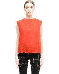 Damir Doma Red Fishnet Top