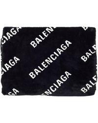 Balenciaga Black Faux Fur Logo Blanket