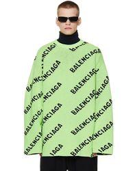 Balenciaga Зеленый Шерстяной Свитер С Логотипами - Черный