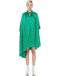 Balenciaga Зеленое Платье В Горошек - Зеленый