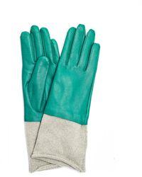 Undercover Зеленые Кожаные Перчатки С Кашемировой Подкладкой - Зеленый