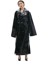 Vetements Patent Leather Coat - Black