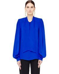 Maison Margiela Ascot Collar Silk Blouse - Blue