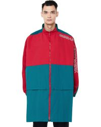 Undercover Green & Red Embroidered Cotton Mix Coat