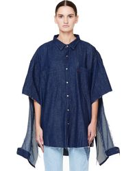 Vetements Oversized Denim Shirt With Cuts - Blue