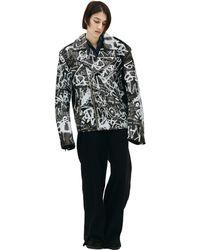 Vetements Leather Graffiti Jacket - Black
