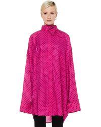 Balenciaga Розовая Рубашка В Горошек С Шарфиком - Розовый