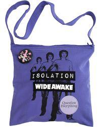 Raf Simons Printed Shopper Bag With Badges - Purple