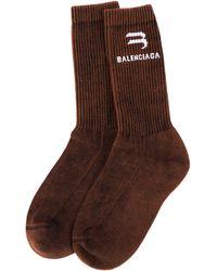 Balenciaga Коричневые Носки С Логотипом - Коричневый