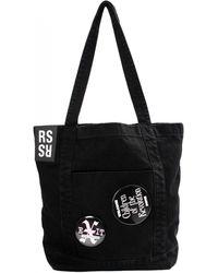 Raf Simons Denim Tote Bag With Badges - Black