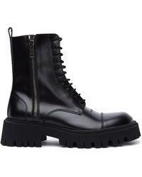 Balenciaga - Высокие Кожаные Ботинки Tractor - Lyst
