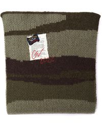 Greg Lauren Paul Shark Long Wool Camo Scarf - Green