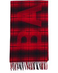Balenciaga Red Checked Wool Scarf