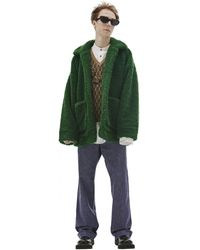 Doublet Painting Print Faux-shearling Coat - Green