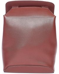 The Row Dark Brown Leather Moulded Backpack