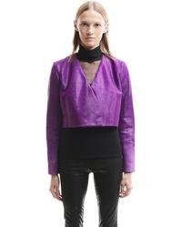 David Koma Pony Fur Cropped Jacket - Purple