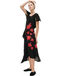 Yohji Yamamoto Flower Printed Silk Dress - Black