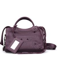 Balenciaga Blackout City S Purple Leather Handbag