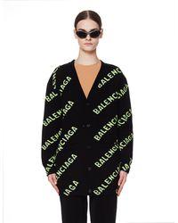 Balenciaga Шерстяной Кардиган С Логотипами - Черный