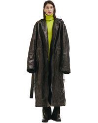 Balenciaga Leather Oversized Trench Coat - Black