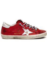 Golden Goose Deluxe Brand Red Leather Superstar Sneakers