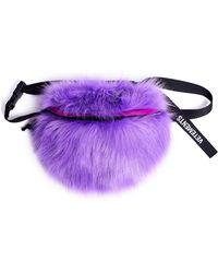 Vetements Purple Faux Fur Waist Bag