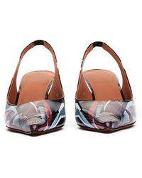 Vetements Race Leather Slingback Kitten Heel Pumps - Black