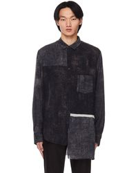 Ziggy Chen Asymmetric Patchwork Shirt - Grey