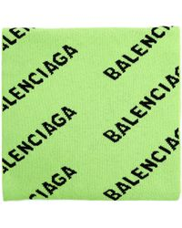 Balenciaga Зеленый Шерстяной Шарф All Over Logo
