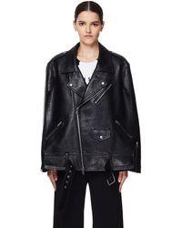 Maison Margiela Черная Кожаная Куртка-пончо - Черный
