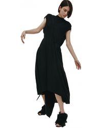 Vetements Черное Платье Без Рукавов С Поясом - Черный