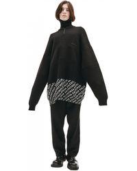 Balenciaga Шерстяной Свитер На Молнии С Логотипами - Черный