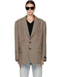 Vetements Oversize Checked Wool Jacket - Brown