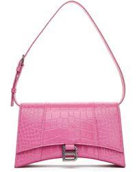 Balenciaga Сумка Hourglass Из Розовой Тисненой Кожи - Розовый