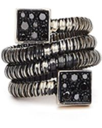 Guidi Серебряное Кольцо С Бриллиантами - Черный