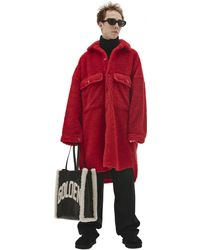Doublet Recycle Fur Oversized Coat - Red