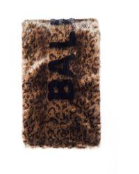 Balenciaga Leopard Faux Fur Logo Scarf - Brown