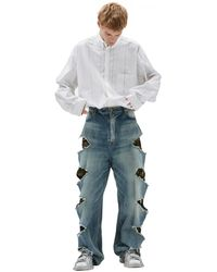 Balenciaga Ripped Jeans With Camouflage Lining - Multicolour