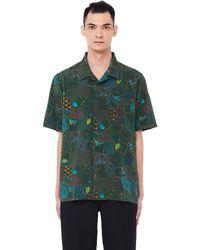 Visvim Hand-printed Free Edge Hyakunin-isshu Shirt - Green