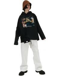 Doublet Hoodie With Lettering & Pouch - Black