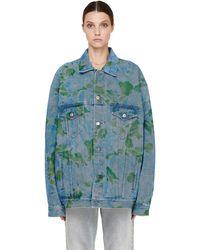 Balenciaga Джинсовая Куртка С Цветочным Принтом - Синий